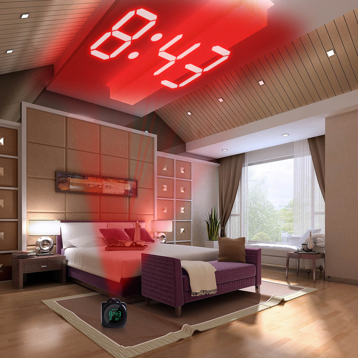 Mini Alarm Clock Digital LCD Voice Talking LED Projector Projection Temperature