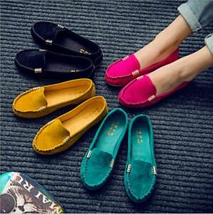 Fashion-Womens-Casual-Loafers-Moccasin-Suede-Ballerina-Ballet-Slip-On-Flat-Shoes