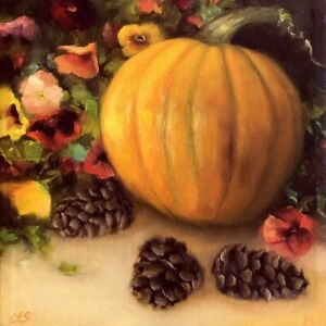 Pumpkin-Autumn-Still-Life-Pansies-Pinecones-Fall-OIL-Painting-Original-CES-NFAC