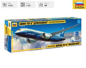 """BOEING 787-8 """"DREAMLINER"""" Zvezda Model Kit 7008 Civil Airliner Scale 1/144"""