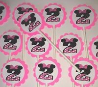 30 Minnie Mouse 2 Birthday Cupcake Toppers Party Favors. 30