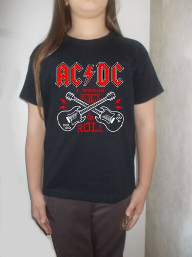 acdc i wanna rock /& roll  t-shirt BLACK clothing toddler T-shirt for children