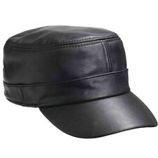 Black Genuine Leather Cap Flat Hat Biker Trucker Sports Visor Solid Mens Womens