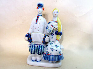on the BENCH HARMONIC Cossack and Girl KFZ KPF porcelain FIGURINE vintage USSR