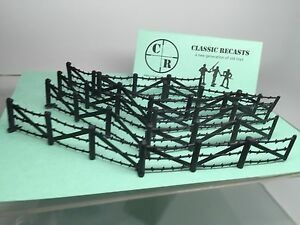 MARX-Battle-Ground-Playset-BARBED-WIRE-FENCE-WWII-Recast-1-32-SCALE-10-Pieces
