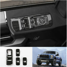 Black Wood Grain Inner Audio Switch Button Panel Cover Trim For Ford F150 2015