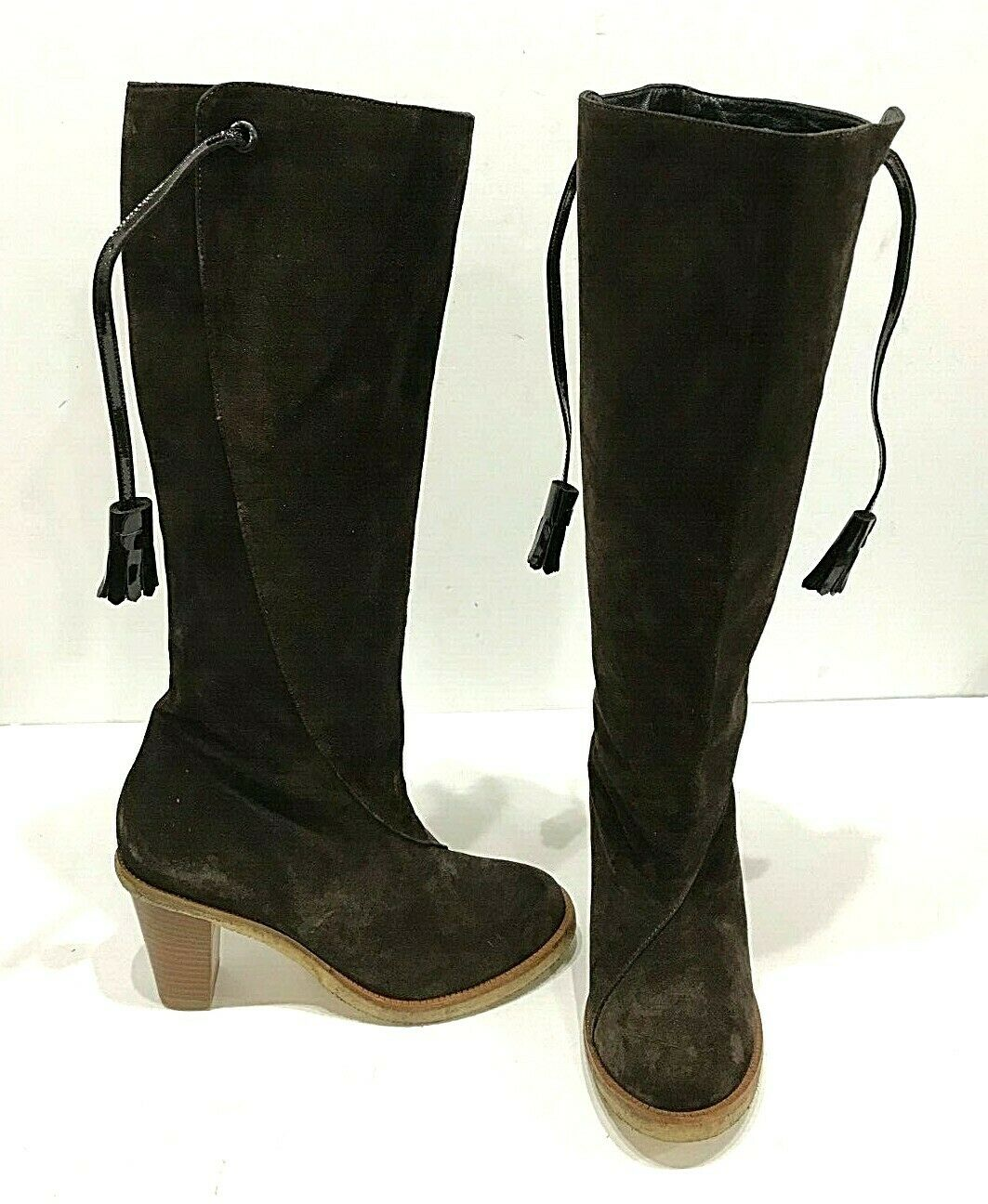 Robert Clegerie Pull Up Brown Suede Knee High Tassle shoes Boots Size 7.5 37.5