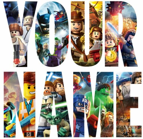 LEGO HEROES LETTER NAME STICKERS WALL DECO DECAL 3 SIZES PERSONALISED lot FC