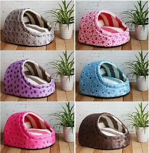 New Sweet Half Covered Pet Dog Cat Tent House Bed Types Small,Medium 6 colors