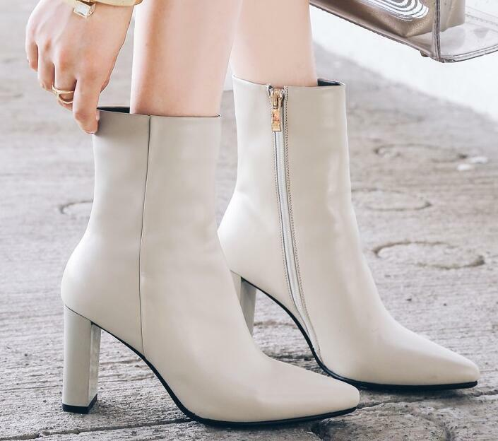 Fashion Women Real Leather Block Block Block High Heel Sexy Pointy Toe Zip Smiple Ankle Boot 5cbc00
