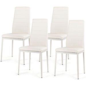 Incredible Details About Set Of 4 Dining Chairs High Back Pvc Padded Seat Iron Feet White Hoom Furniture Creativecarmelina Interior Chair Design Creativecarmelinacom