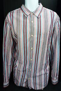 XL-BANANA-REPUBLIC-Slim-A-Manches-Longues-A-Rayures-Bouton-Devant-Shirt