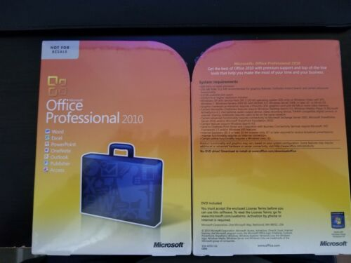 Word Microsoft Office Professional 2010 Full Sealed Retail Box Excel,Access,