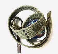 RALPH LAUREN DENIM & SUPPLY MENS O RING MILITARY STYLE BELT ARMY GREEN NWT65 MED