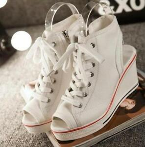 Fashion-Women-039-s-Girls-Open-Toe-Slingbacks-Lace-Up-Canvas-Wedge-Sneakers-Shoes-C9