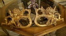 Georgeous pair of antique gold Cherub curtain rod holders unique and beautiful!