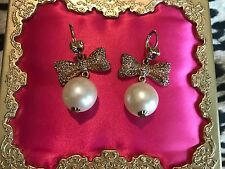 Betsey Johnson Vintage Ski Bunny Pearl Lavender Crystal Paved Bow Heart Earrings