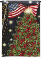 American Flag & Christmas Tree Holiday Patriotic Small Banner Flag 12.5x18