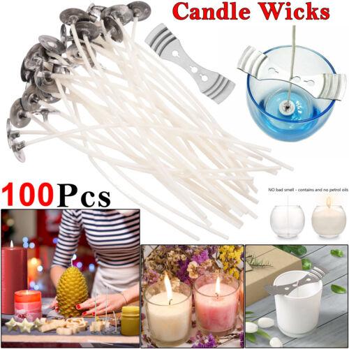 100 X Pré Waxed Mèches 15 cm de long pour la maison Candle Making Coton avec chassé UK
