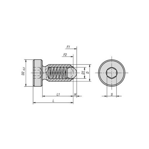 normaler Federdruck Federnde Druckstücke mit Kopf u ISK M8x21 Stahl brüniert