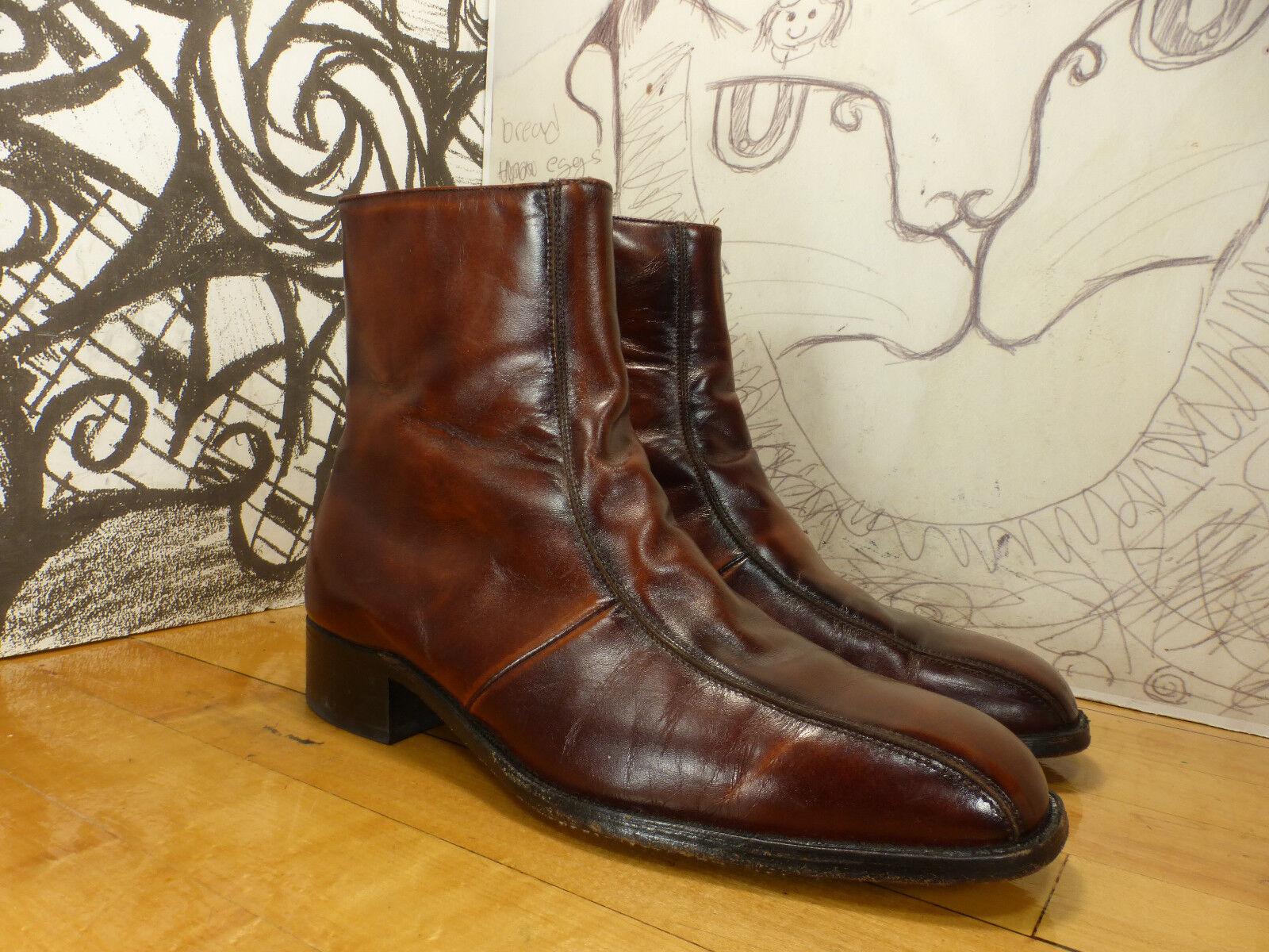 Vintage BEATLES Chelsea ANKLE Stiefel Side Zip STUART HOLMES braun Leather 8.5M
