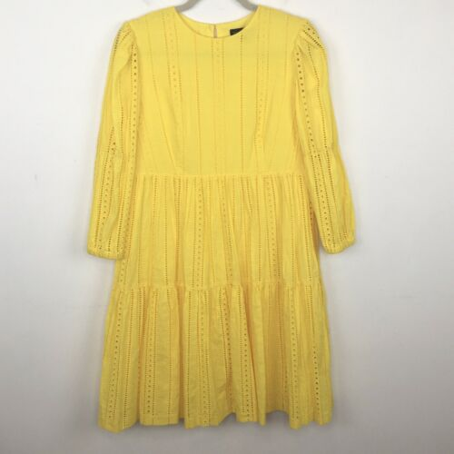 Banana Republic Bright Yellow Eyelet Midi Dress Si