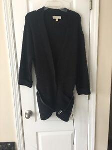 MICHAEL KORS Women s Charcoal Gray 3 4 Sleeve Long Belted Cardigan ... 07dfdbe80