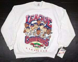 Vtg-Cleveland-Indians-MLB-1995-Caricature-American-League-Champion-Sweatshirt-XL