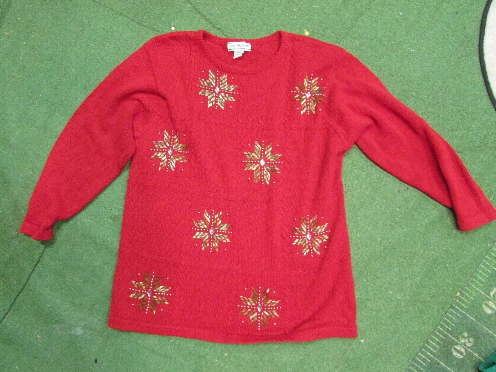 008eeb1c06a09 Vintage REALLY Ugly Christmas Sweater size 1X august max woman gold  snowflakes
