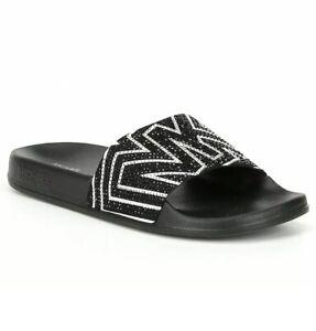 Women-MK-Michael-Kors-Gilmore-Slide-Slip-On-Sandals-Rhinestone-Black-Optic-White