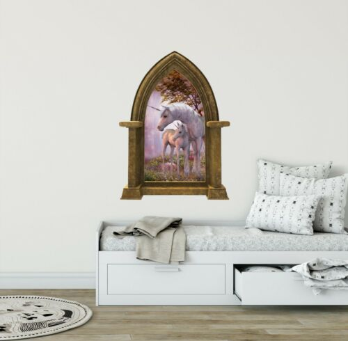 Unicorn with Baby CastleScape Wall Decal Window Fairytale Fantasy Medieval Decor