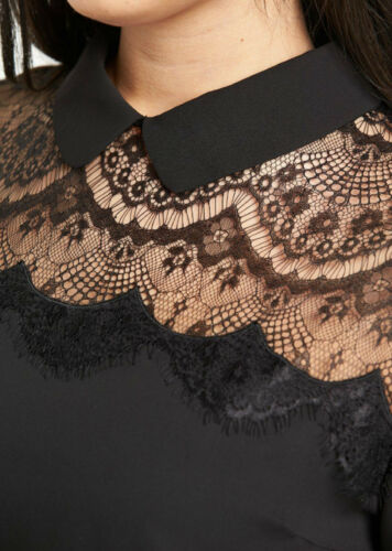 Shirt Yoke Dress Fabulous 16 Black So Size Lace Pv87xwIqnS
