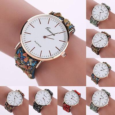 Fashion Ladies Geneva Women's Stainless Steel Leather Quartz Analog Wrist Watch