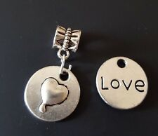 LOVE Puff Heart 2 Sided Round Silver Bead Large Hole fit European Charm Bracelet