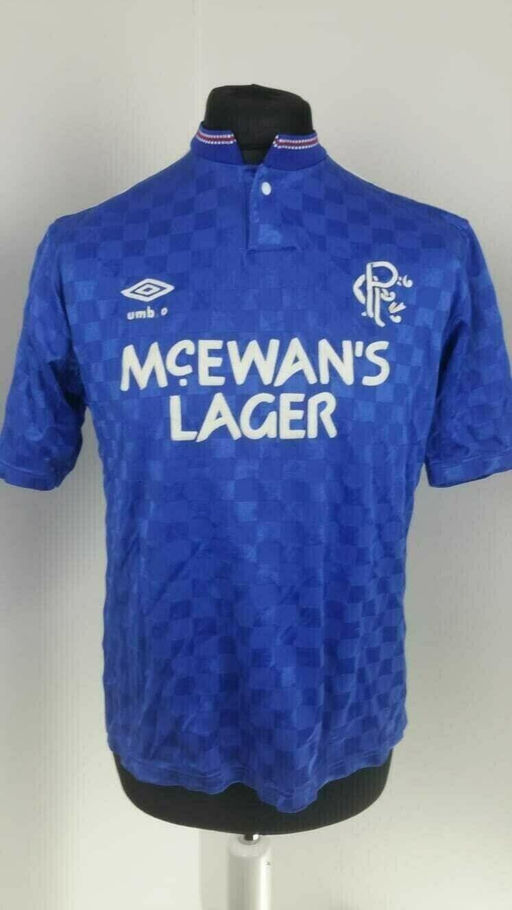 Glasgow Rangers TShirt Calcio Souness Casa Maglia da Umbro 198790 Taglia M