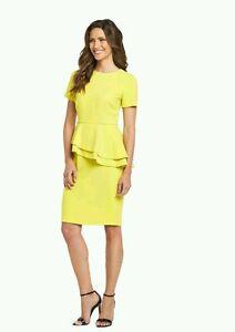 BNWT SAVOIR YELLOW ASYMETRICAL PEPLUM PENCIL DRESS SIZE 22   eBay