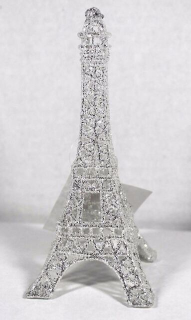 Silver Glitter Eiffel Tower Christmas Tree Ornament Holiday Paris Decor - Silver Glitter Eiffel Tower Christmas Tree Ornament Holiday Paris