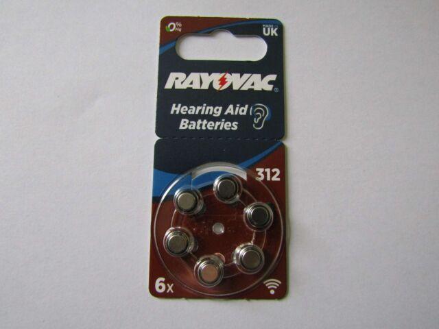 6x Type 312 Acoustic Hearing Aids Batteries Zinc-Air 160mAh Rayovac