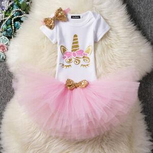 US Toddler Baby Girl 1st Birthday Cake Smash Outfits Princess Romper Tutu Skirt