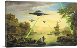 ARTCANVAS-Flying-Saucers-Aliens-Canvas-Art-Print-by-Banksy