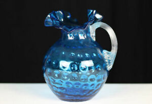 """Blue art glass water pitcher Thumbnail w ruffled top clear applied handle 9.5"""""""