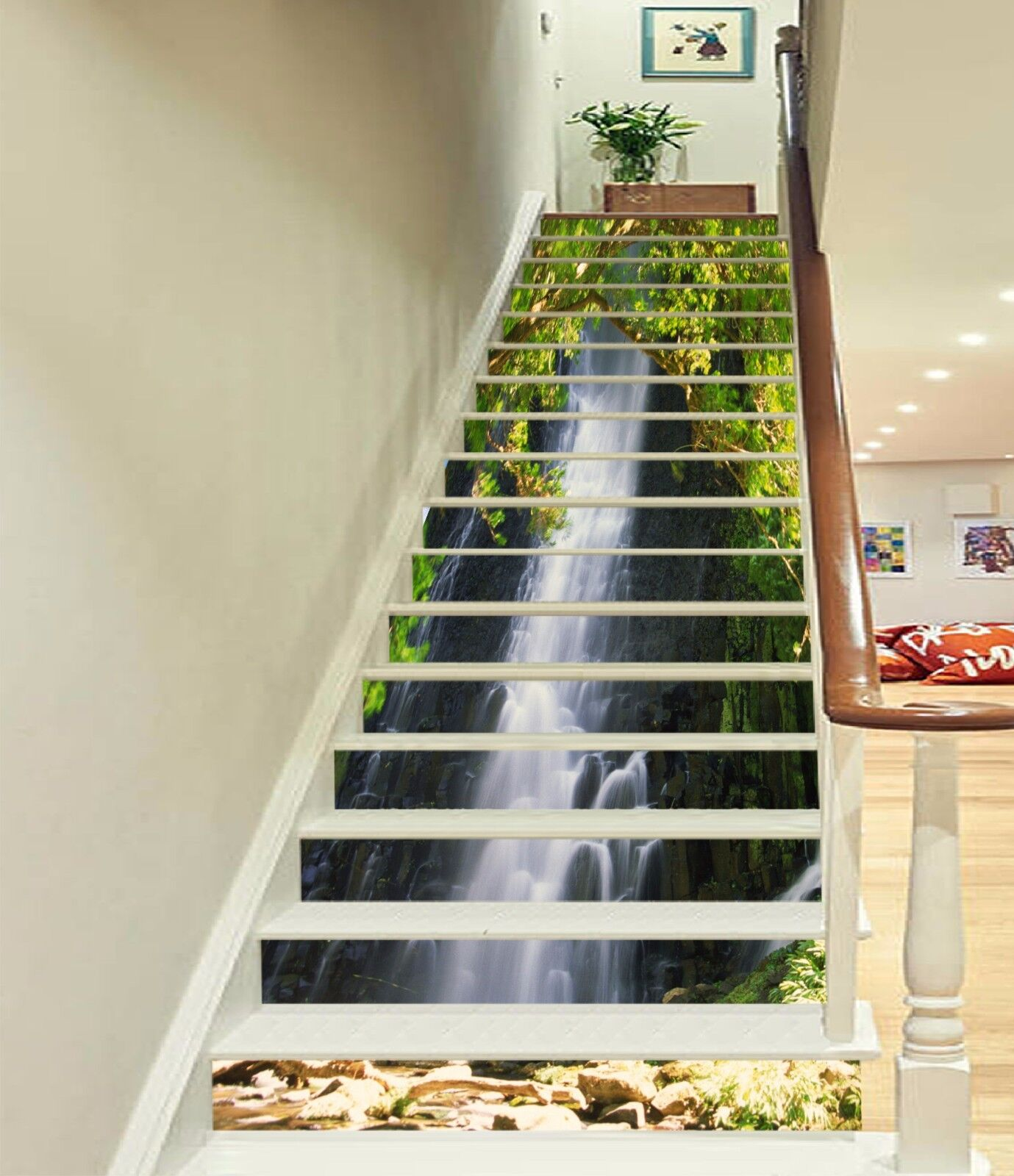 3D Tree waterfall36 Stair Risers Decoration Photo Mural Vinyl Decal Wallpaper UK