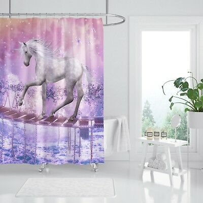 Adaptable 3d Einhorn Brücke 77 Duschvorhang Wasserdicht Faser Bad Daheim Windows Toilette To Ensure Smooth Transmission Shower Curtains Window Treatments & Hardware