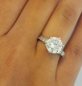 3e584b6683e44 Details about 3 CT Round Diamond Solitaire Engagement Wedding Bridal Ring  Solid 14K White Gold