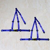Pair Of 3 Point Racing Seat Belt Harnesses For Car/off Road/4x4 Harness Blue