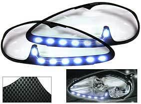 Carenature-copri-fari-proiettori-effetto-carbonio-led-daylight-FIAT-Grande-Punto