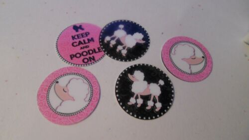 Pre Cut One Inch Bottle Cap Images KEEP CALM POODLE ON Free Ship