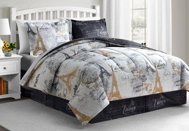Paris Gold 8 Pc California King Size Reversible Comforter Set