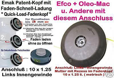 Desbrozadora cabezal de hilo EFCO oleo-Mac Quick-load /& Go 2,4 mm 10x1,25 Motorsense