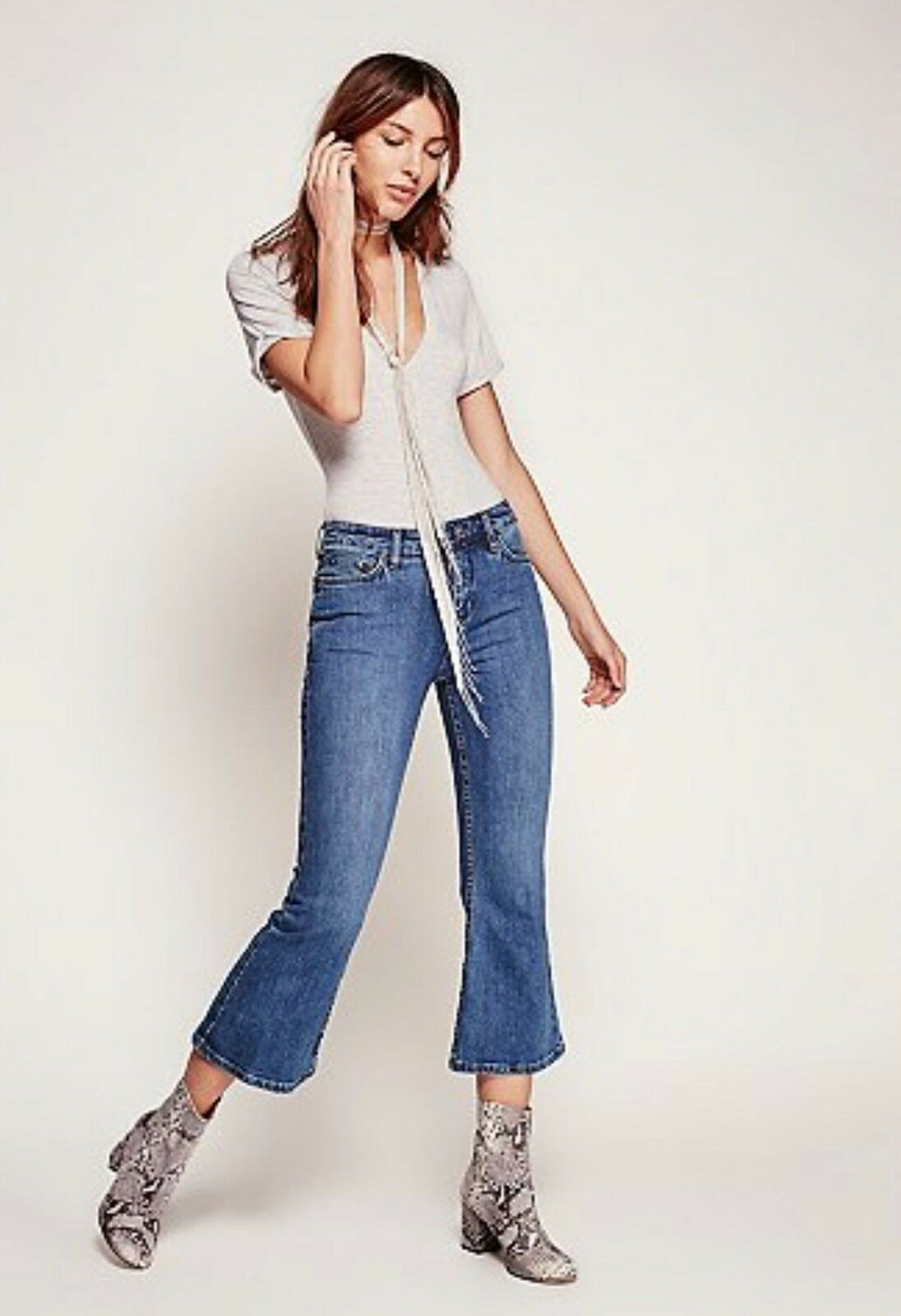 FREE PEOPLE CHLOE CROPPED FLARE JEANS SZ 24